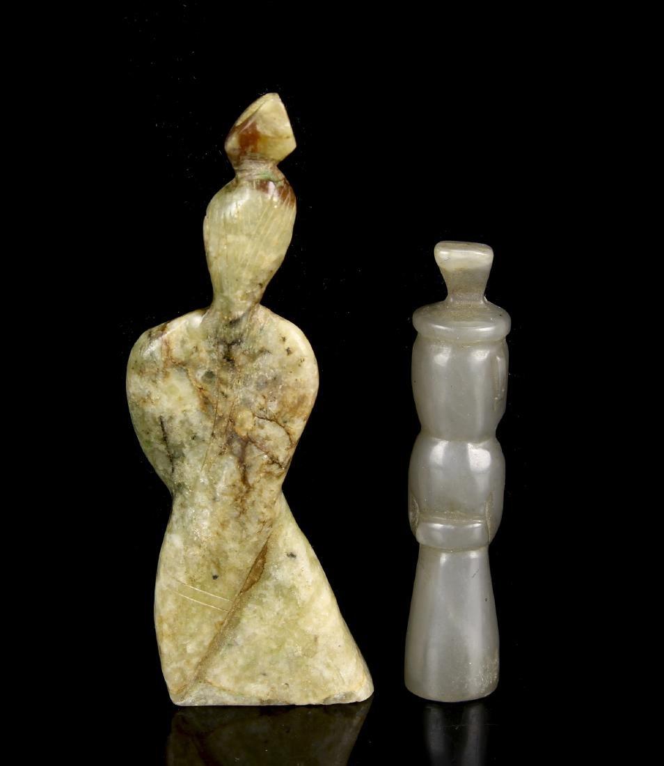 Two Jade Standing Figures - 2