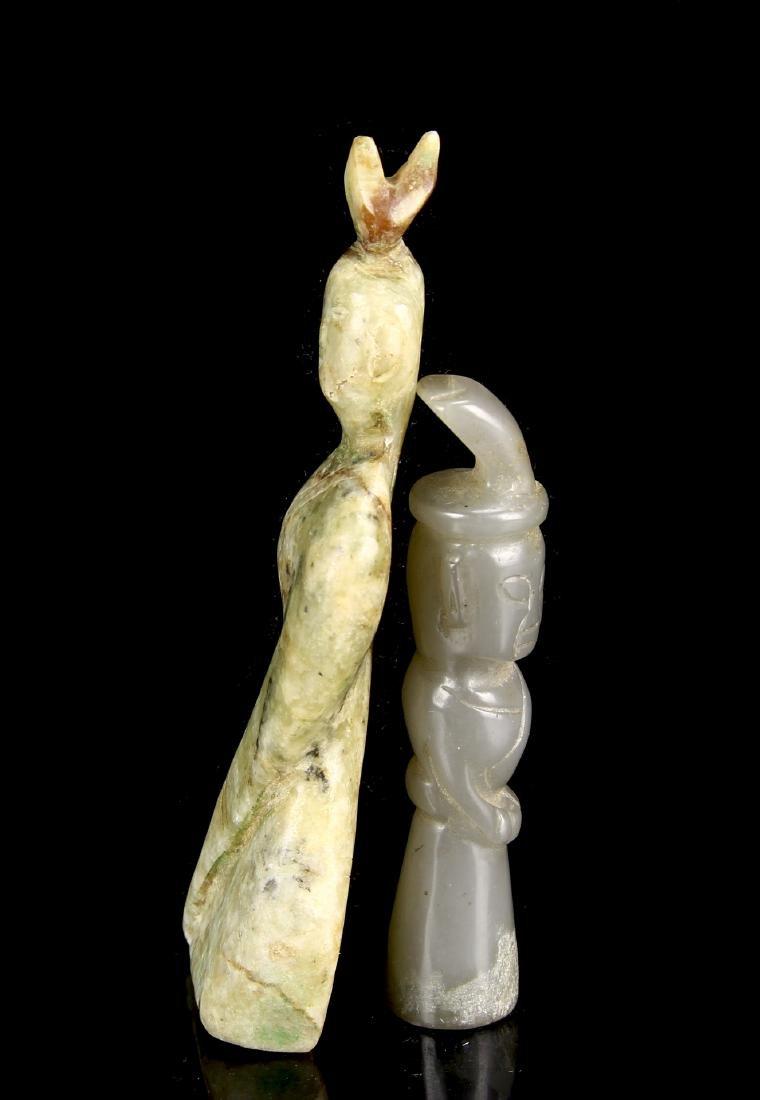 Two Jade Standing Figures - 3