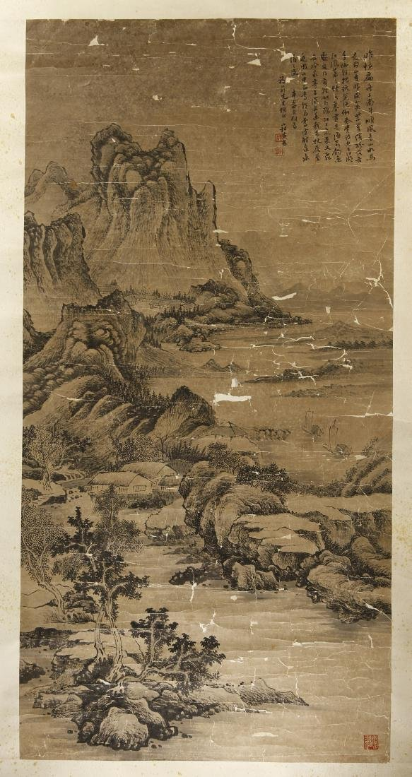 Large Chinese Classic Landscape Hanging Scroll