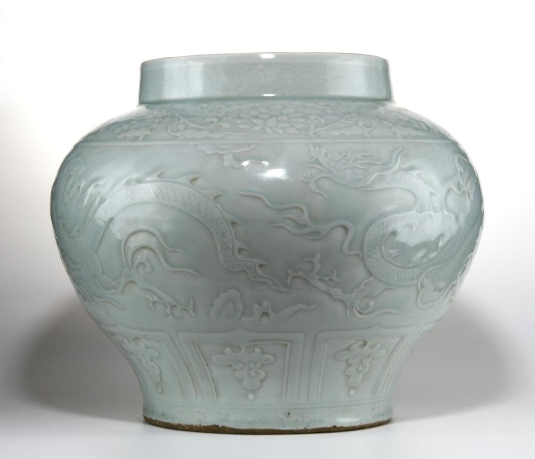 Rare Large Ying Ch'ing Carved 'Dragon' Jar, Yuan