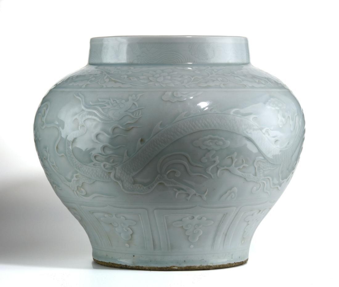 Rare Large Ying Ch'ing Carved 'Dragon' Jar, Yuan - 2