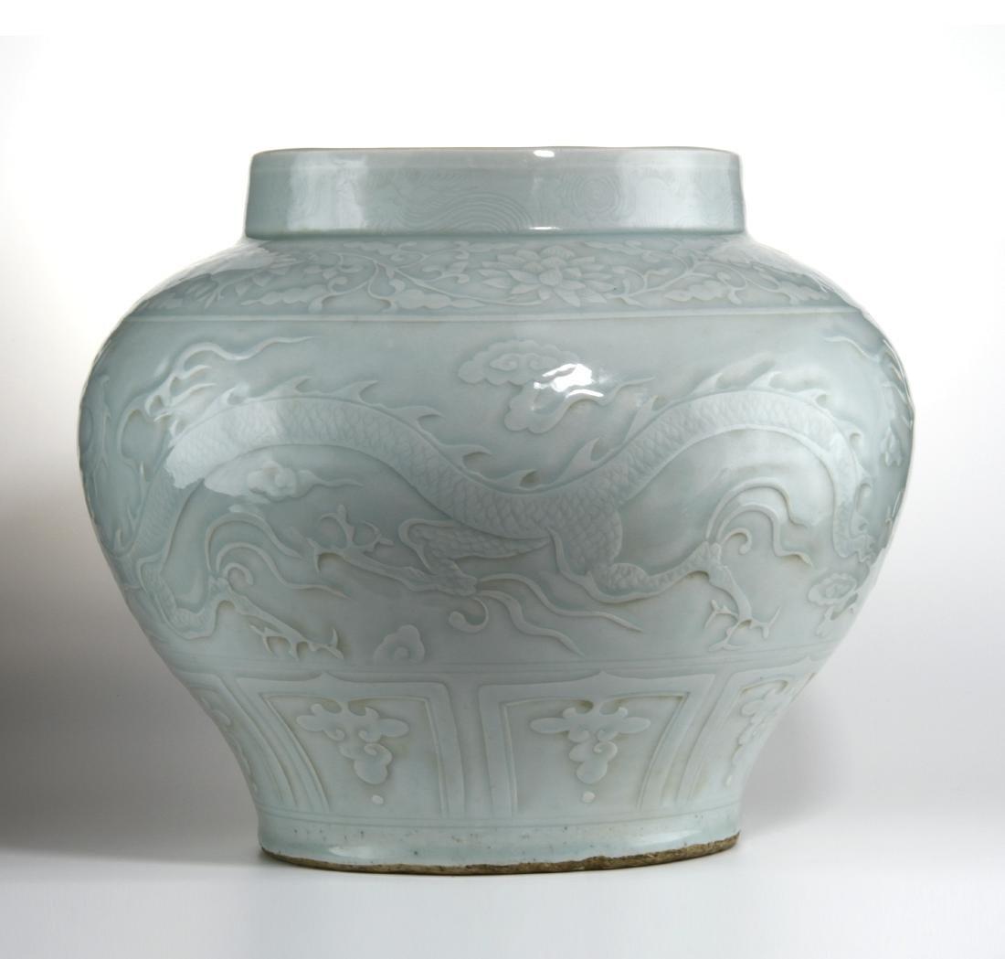 Rare Large Ying Ch'ing Carved 'Dragon' Jar, Yuan - 3