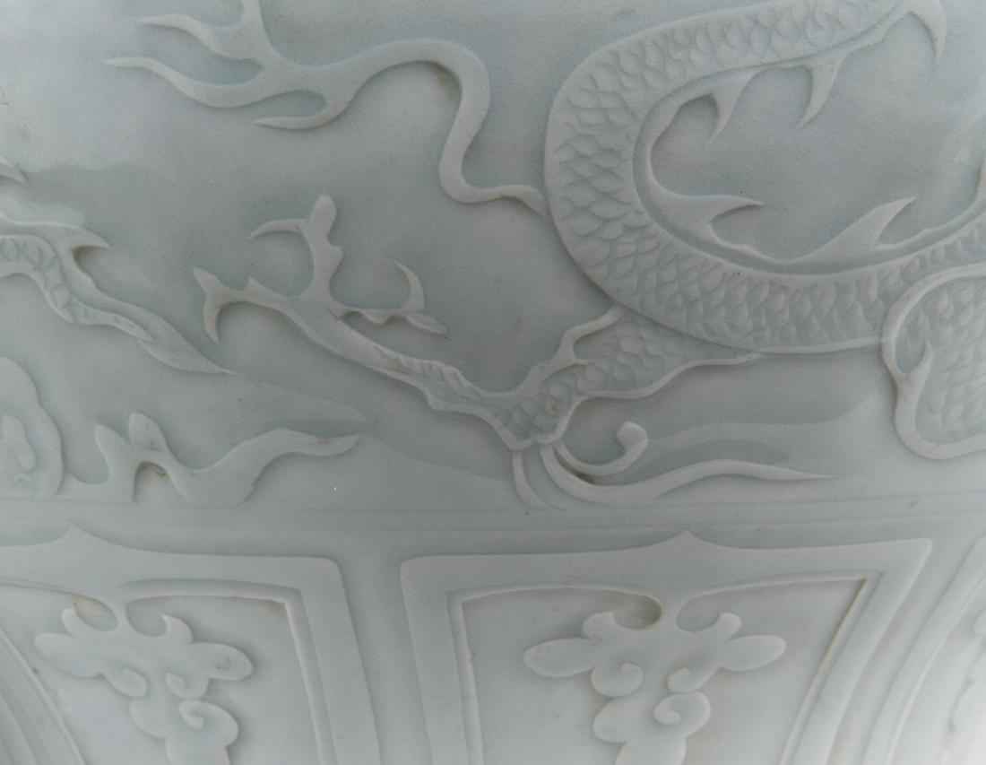 Rare Large Ying Ch'ing Carved 'Dragon' Jar, Yuan - 5