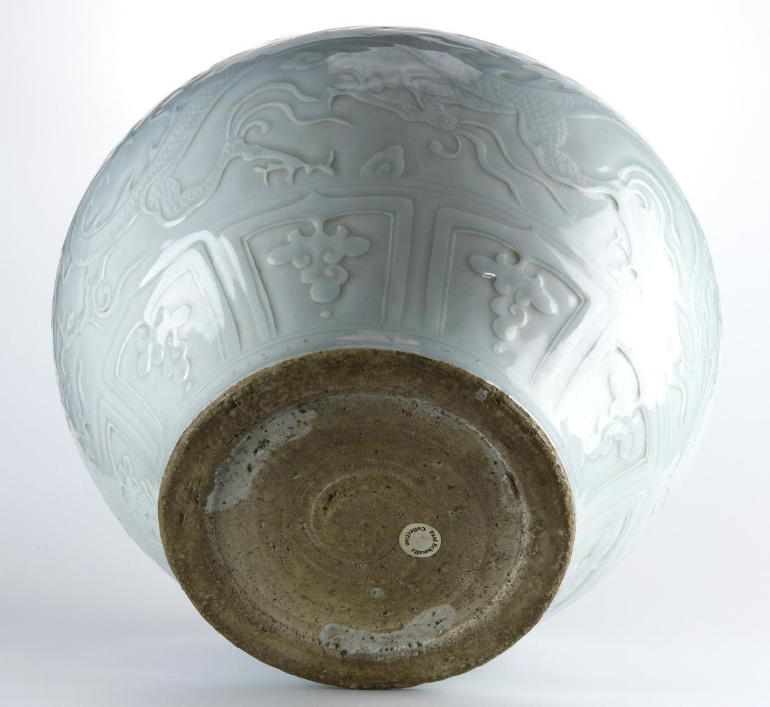 Rare Large Ying Ch'ing Carved 'Dragon' Jar, Yuan - 9