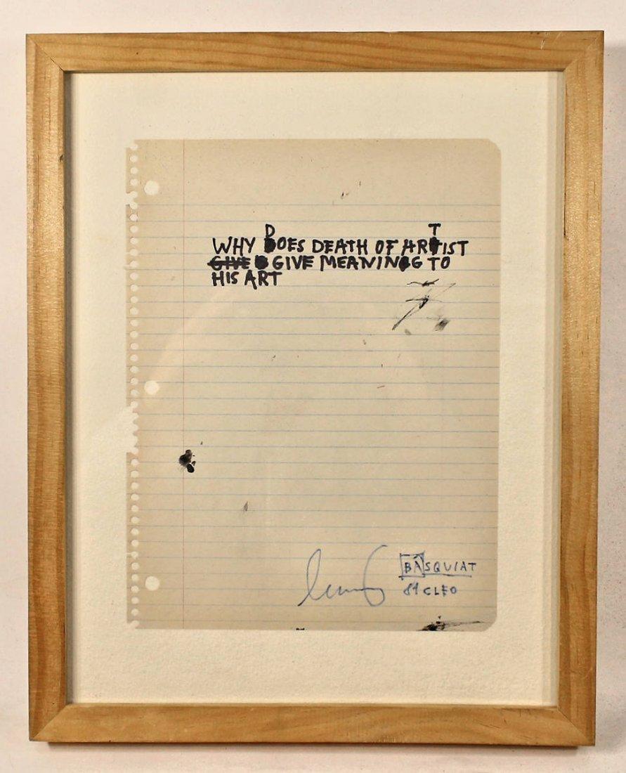 Original art signed Jean-Michel Basquiat Notebook