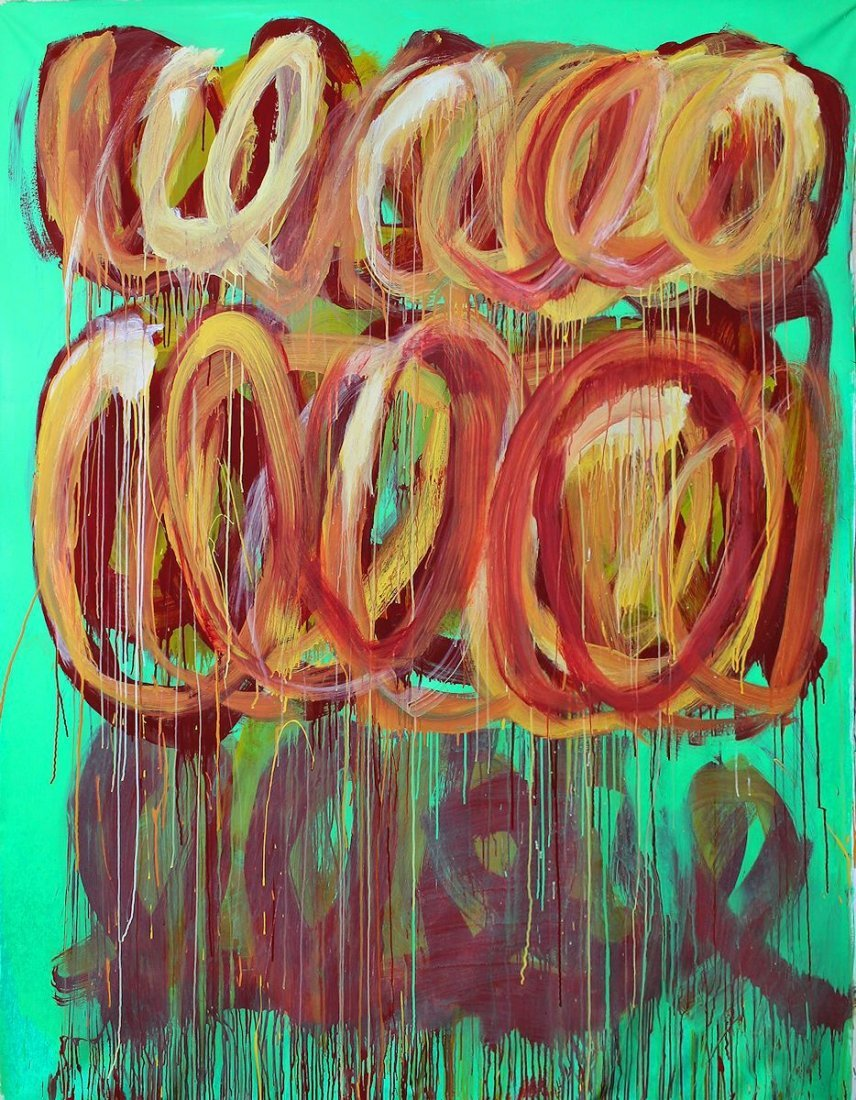 CY TWOMBLY / SIGNED PAINTING ACRYLIC ON CANVAS