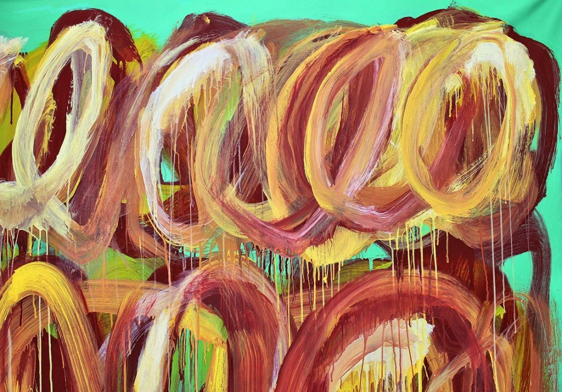 CY TWOMBLY / SIGNED PAINTING ACRYLIC ON CANVAS - 3