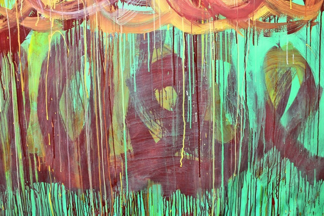CY TWOMBLY / SIGNED PAINTING ACRYLIC ON CANVAS - 5
