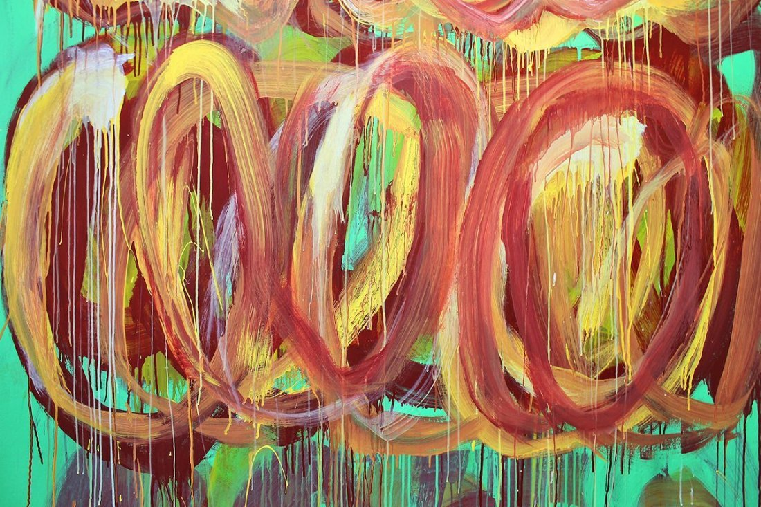 CY TWOMBLY / SIGNED PAINTING ACRYLIC ON CANVAS - 6