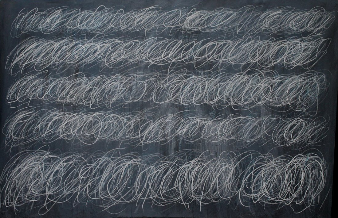 CY TWOMBLY SIGNED PAINTING OVER 5 FEET 65x41 INCH