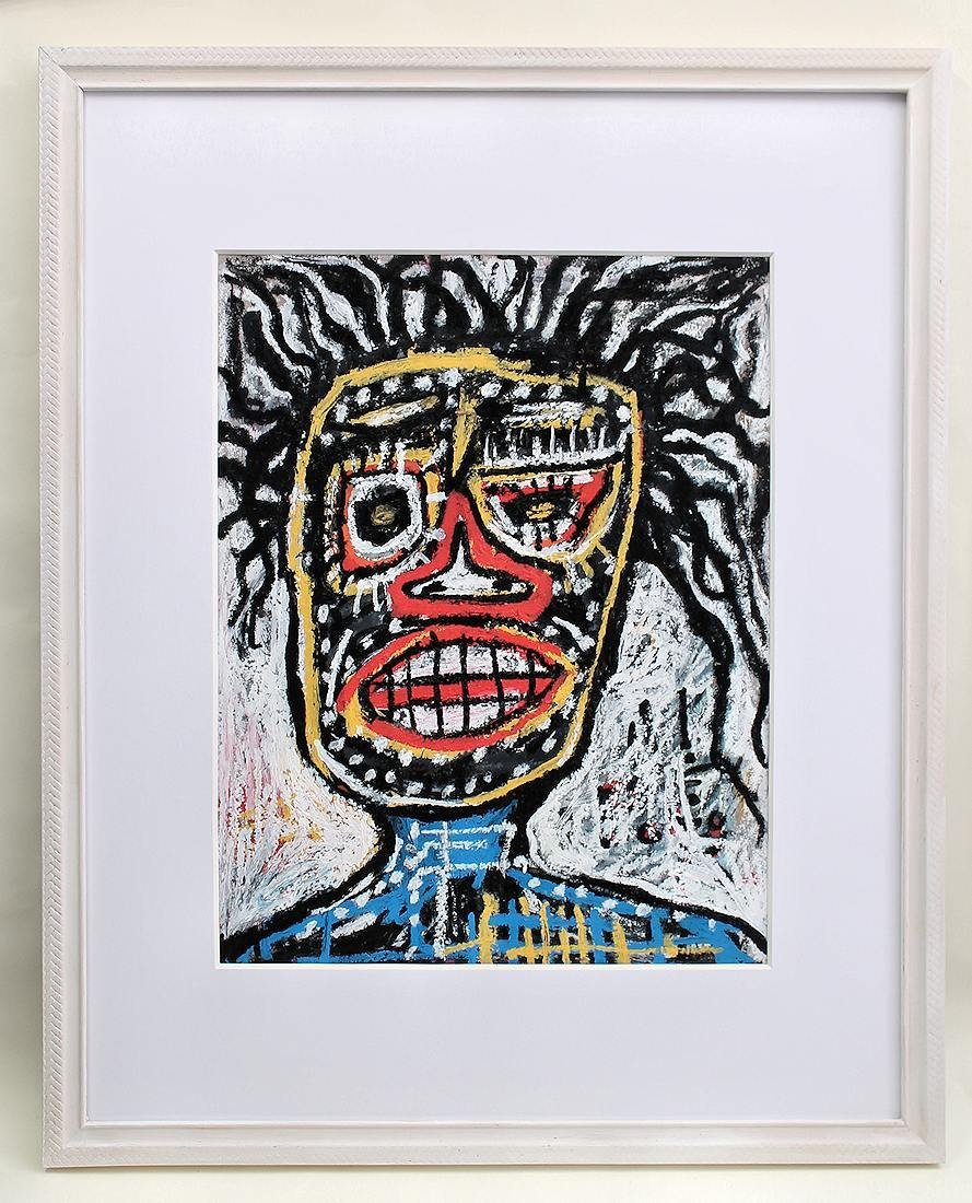 JEAN-MICHEL BASQUIAT LARGE DRAWING PAINTING