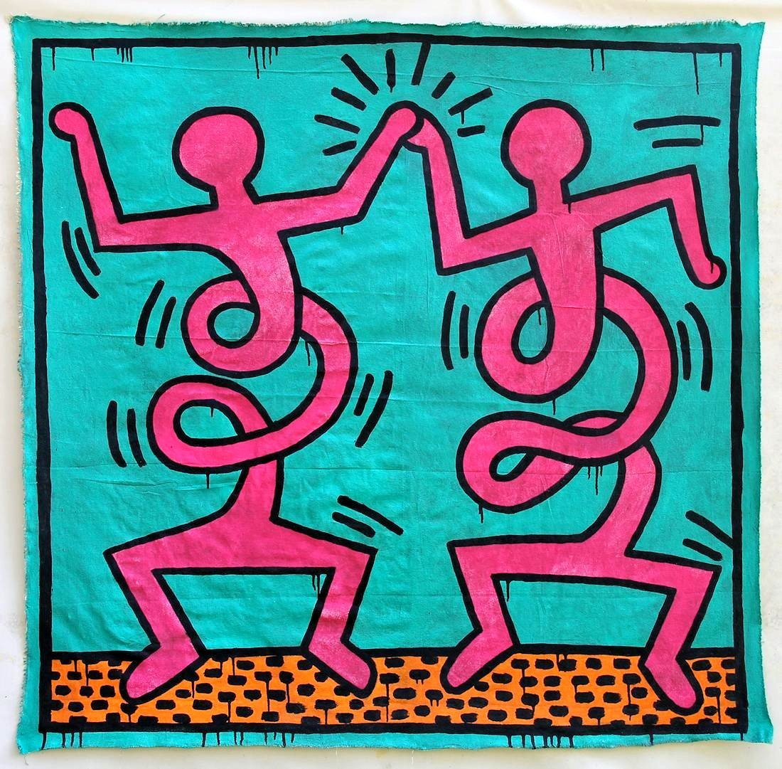 Keith Haring 1958-1990 / Large Painting on Canvas