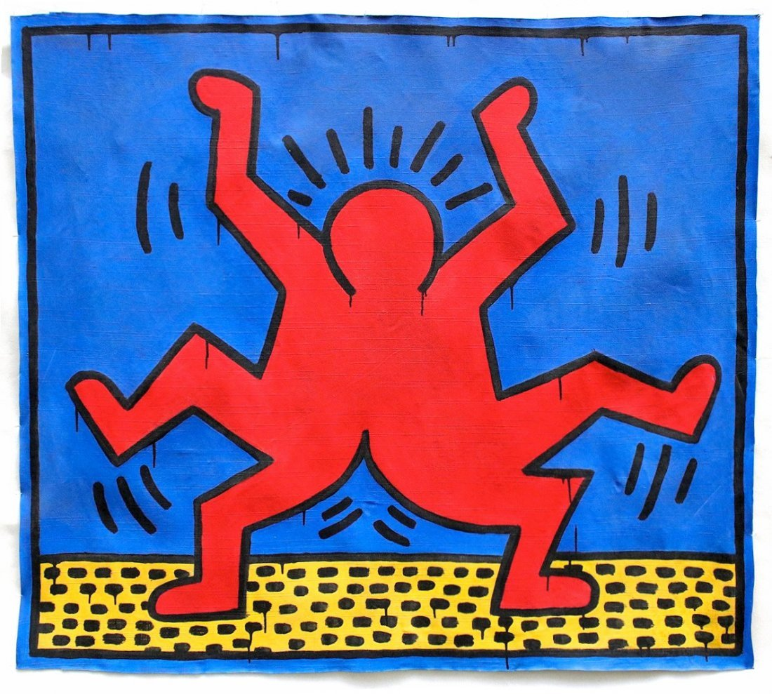 Keith Haring (1958-1990) / Large Painting on Canvas