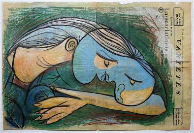 PABLO PICASSO (1881-1973) LARGE ORIGINAL DRAWING 1936