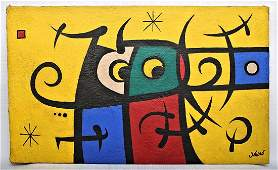 JOAN MIRO 1893-1983 / LARGE PAINTING DRAWING ON CANVAS