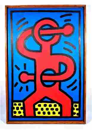 KEITH HARING / Painting / Drawing on linen canvas