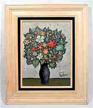 """HENRY FAULKNER / """"Flowers"""" oil on Masonite"""