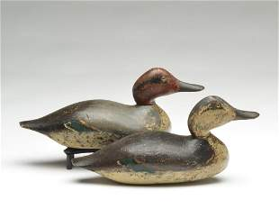 Early rigmate pair of greenwing teal, Mason Decoy