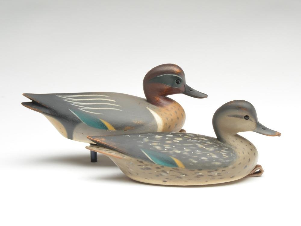 Pair od hollow carved green wing teal, Pete Peterson,