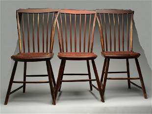 Very rare set of six step down Windsor chairs, made in