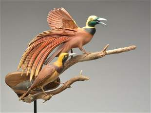 Well executed double mount carving of birds of