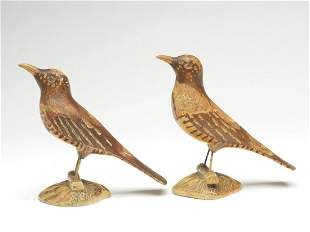 Pair of brown thrashers on wooden bases, Joseph Rumuald
