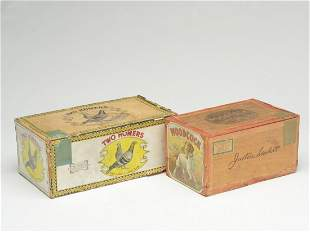 Two vintage wooden cigar boxes.