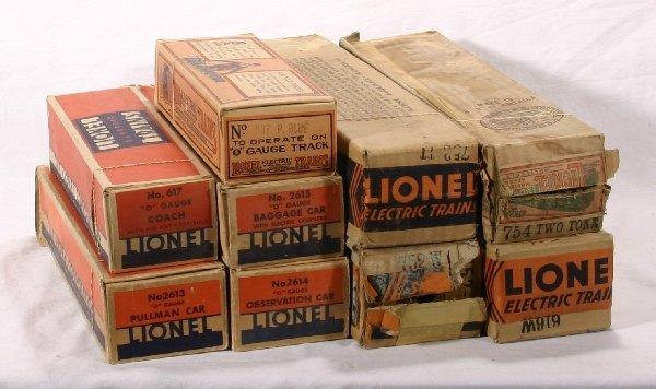 10: NETTE - 9 Empty LIONEL Pre O Pass. Boxes: