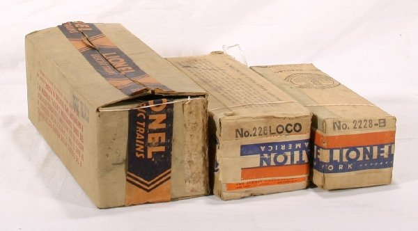 17: NETTE - 3 Empty LIONEL Pre O Loco Boxes: