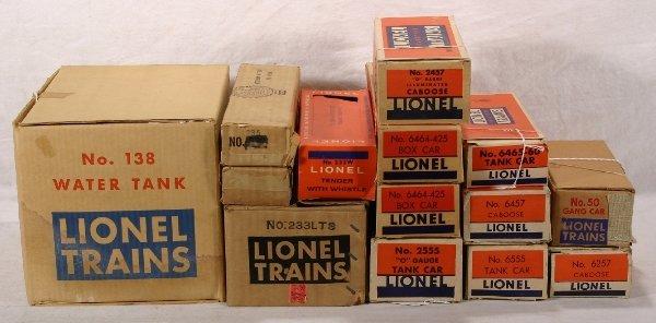 199: NETTE - 11 Empty LIONEL Post War Boxes: