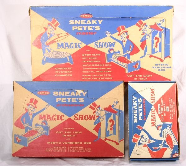 231: NETTE - 3 REMCO Sneaky Pete Magic Show Sets: