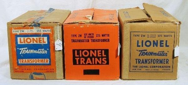 9: NETTE - 3 Empty LIONEL ZW Boxes: