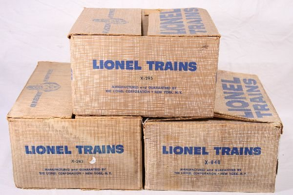 9: NETTE - 3 Empty LIONEL Uncataloged Set Boxes: