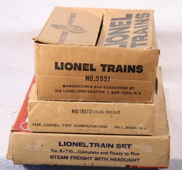 23: NETTE - 3 Empty LIONEL Set Boxes, X-716; 19512; 965