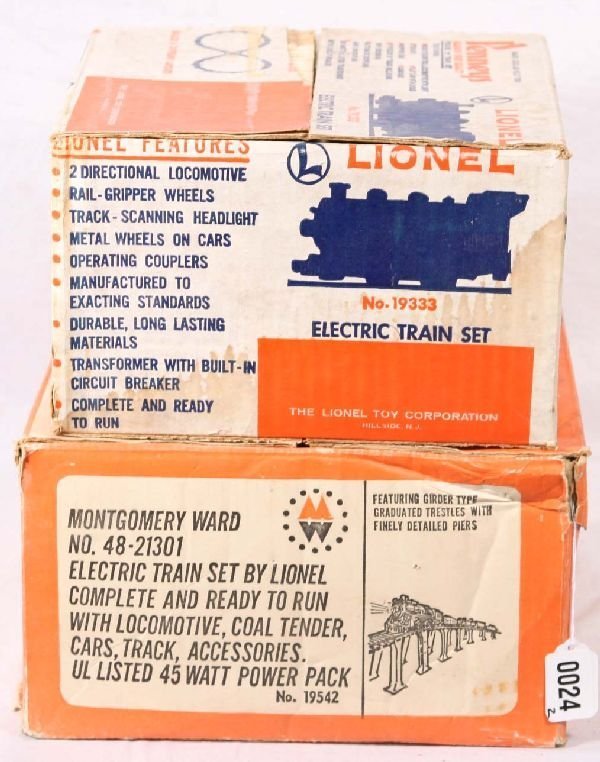 24: NETTE - 2 Tough Empty LIONEL Set Boxes, 19333 & 195