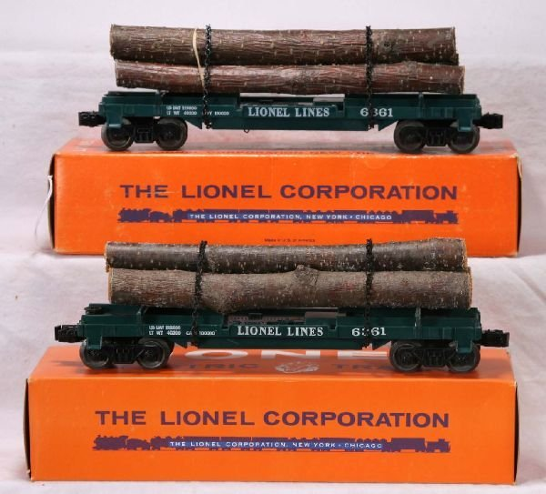 343: NETTE - 2 Mint Boxed LIONEL 6361 Timber Cars: