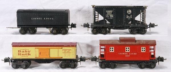 116: NETTE - 4 Pc. LIONEL Pre O Freight Cars: