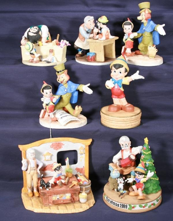 188: NETTE - 7 Pc. Bisque DISNEY Pinocchio Figurine Lot