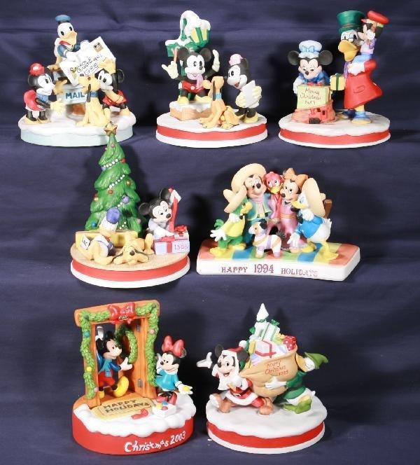 192: NETTE - 7 Pc. Bisque DISNEY Christmas Lot: