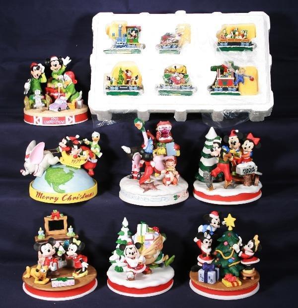 201: NETTE - 8 Pc. Bisque DISNEY Christmas Lot: