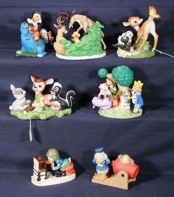 203: NETTE - 7 Pc. Bisque DISNEY Bambi & Donald Duck: