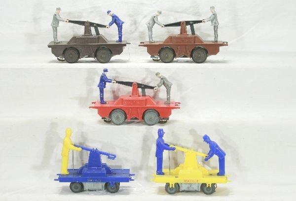 290: NETTE - 5 Pc. MARX Handcar Lot, Plus:
