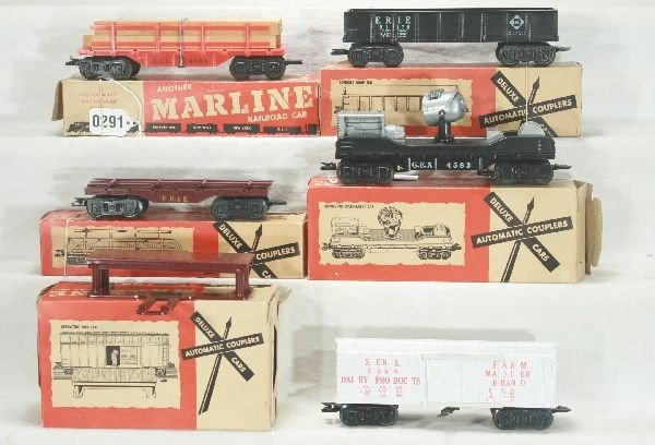 291: NETTE - 5 Boxed MARX Deluxe Freight Cars: