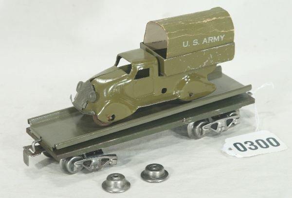 300: NETTE - Scarce MARX Military Truck Unloading Car: