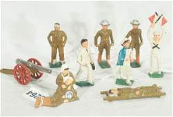 996: NETTE - 9 Nice GRAY IRON Dimestore Soldiers:
