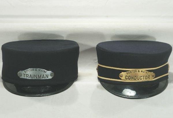19: NETTE - 2 Nice B&M RR Conductors Hats: