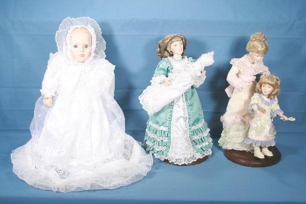 1: 3 Boxed DANBURY MINT Porcelain Dolls