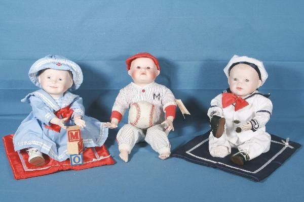 9: 3 Boxed KNOWLES Porcelain Dolls