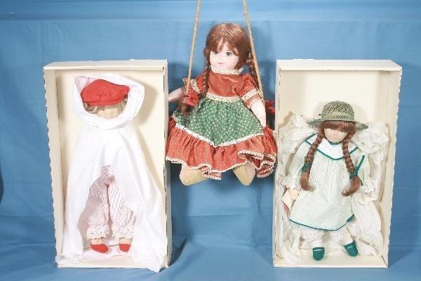 10:  3 Cloth Dolls, Boxed