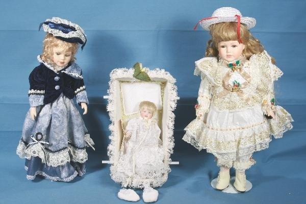 21: 3 Porcelain Modern Doll Lot